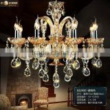 Modern Luxury Hotel Lobby Chandeliers Lighting Amber Colored Glass Chandelier Crystal Hanging Lamp Light Fixture CZ3019/8A