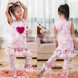 2015 persnickety spring child clothes,baby girls heart ruffle top and floral pants set