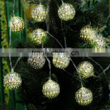Warm White 4M 12 LED String Lighting Wedding Fairy Christmas Lights Outdoor Hollow Ball Globe Christmas Decoration Outdoor