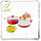 electric 3pcs red cookware sets/ceramic coating frying pan,casserole with lid