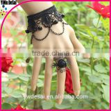 fashion women's bracelet The roses black lace female bracelet with crystal ring fashion bracelet
