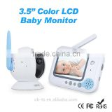 "2.4GHz 3.5"" LCD Video baby monitor lullabies for twins two way radio wireless microphone"