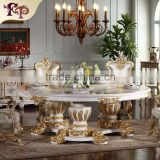 Gothic furniture- Handwork Gilding golden foil royalty dining table-french provincial furniture dining table                                                                         Quality Choice
