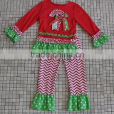 Candy embroidery wholesale baby girls long sleeve red white chevron pants christmas cotton boutique outfits
