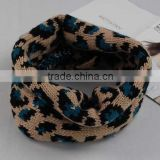 Fashion Knitting Acrylic Iceland Yarn scarf Tube Neckwear Joker Leopard Printed Hoody neckerchief for Women Dresses