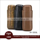 Guangzhou YuJia Multi-function leather cigar case with cutter travel humidor holder 2 tube