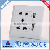 wall switch white color double USB connector plastic cover