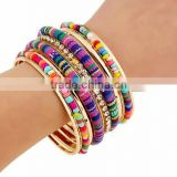 Ethnic Fusion Front Opening Bangle Handcraft Bead Bohemia Bracelet Jewelry Women