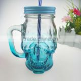 16oz skull glass mason jar, glass bottles for juice with handle                                                                                                         Supplier's Choice