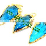 Turquoise Glass Arrowhead Pendant Charm edged in Electroplated : Indian Arrowheads for sale
