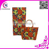 wholesales Price WB-001 African wax Prints fabric with matching waxed fabric leather hangbag for big party /wedding Dress