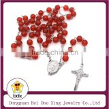 Wholesale Christian 8MM Red Agate Bead Stainless Steel Religious Jesus Cross Rosary Necklace Holy Communion Baptism Agate Rosary