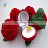 Red roses flannelette ring box Wholesale jewelry box wedding gift boxes spot valentine's day gift