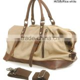 High quality brand import travel bags tote luggage canvas duffel bag with genuine leather