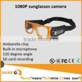 1080P portable wearable sports cam,sunglasses camera can replace digital camera and camcorder