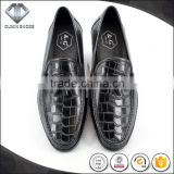 Goodyear driving shoes Injection molding high level genuine leather men shoes The crocodile grain black color