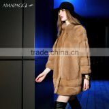 Wholesale women cape design natural mink fur coat for famous brand