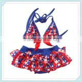 4th July blue white star print satin swim wear for baby girls kids bikini clothing set 2-8Y