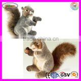 A248 Wild Animal Squirrel Puppet Plush Toy Grey Squirrel Hand Puppet