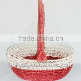 Set of Three Oval Iron Silver string fruit basket for christmas decoration