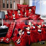 Mickey mouse queen cartoon 3d 100% cotton bedding sets 4pcs include 1pc duvet cover 1pc bed sheet 2 pcs pillowcases for kids.