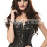 Fashion Women's sexy steampunk leather steel boned waist cincher corset overbust mid zipper bustier