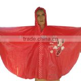 Disposable printed PVC RAINCOAT For Adult