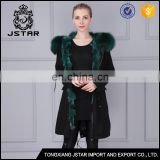 High quality custom black rabbit fur jacket with warm collar
