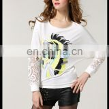 Fashion spring design round neck batwing long sleeves whit blouse with lace