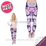Pink vegetation jogging cheap custom fit fabric fancy print sale casual high quality polyester stylish women leggings