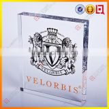 Clear Acrylic block, plexiglass display, with Logo inide