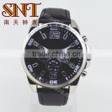 Sport watch quartz watch with black leather strap