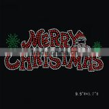 wholesale Custom Hot Fix Korean Heat rhinestone christmas Transfer with Merry christmas letters