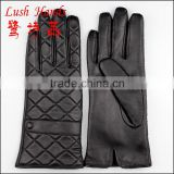 black checked smart phone goat skin gloves for women with leather watch strap