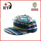 Canvas spring colorful camping bohemia national style 5 panel digital printing snapback cap