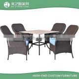 SGS approved leisure ways modern rattan wicker outdoor garden dining table and chair set furniture