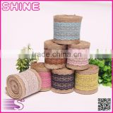 0.06*2M Natural Jute Burlap Hessian Lace Ribbon Roll and white lace rustic DIY decoration jute roll