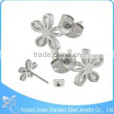 ZS20441 Hot sale surgical steel funky earring girls silver flower stud earrings
