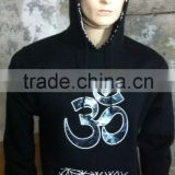 High-quality women's pullover hoodies, made of black cotton, with berber fleece lining and embroidery