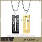China factory 316l stainless steel jewelry necklace G shape pendant necklace with cross Bible pendant
