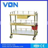 FC-17 One Drawer stainless steel Utility Medical Trolley Equipment , Two Layers With Brake abs hospital trolley