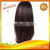 Yaki Straight Highlights Color Glueless Full Lace Wigs &Front Lace Wig Remy Brazilian Virign Human Hair