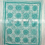 Applique Kantha Bedspread Quilt Indian Cotton Bed Cover Patchwork Cutwork with Fine Hand Kantha Work Ralli
