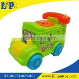 Pull along cartoon telephone car toy with bell