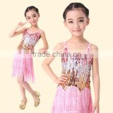 2016 New Arrivals Cheap Kids Tassel Latin Dance Dress Children Latin Ballroom Skirt On Sale