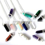 Hexagon prism natural quartz crystal point pendants with silvering chain                                                                         Quality Choice