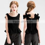 OEM Custom make Supplier Guangzhou, Ladies Peplum Sleeveless Cami Top Exposed Bow Tie Back Blouse