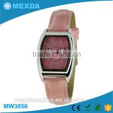 New times japan movt pink leather strap beautiful ladies watch