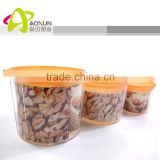 PP Transparent Dry Food Storage Container, Plastic Storage Box with Colorful Lid
