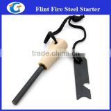 wood handle fire starter stick with multi purpose fire striker